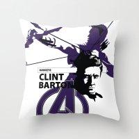clint barton Throw Pillows featuring Clint by Mad42Sam