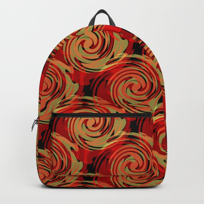 Abstracty pattern in red and brown tones. Backpack