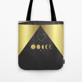 Faux Gold Moon Phases Gold Heart Tote Bag
