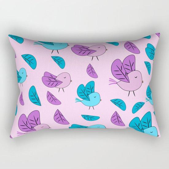 Birds in blue and pink Rectangular Pillow
