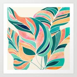 Rise Up / Tropical Leaf Illustration Art Print