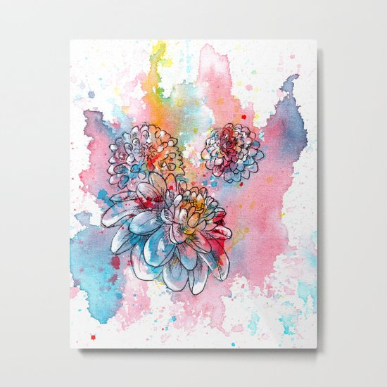 Colorful abstract flowers 1 Metal Print