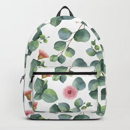 Eucaliptus and pink flowers pattern Backpack