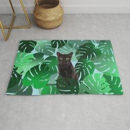 Black Cat Monstera Jungle leaves Rug