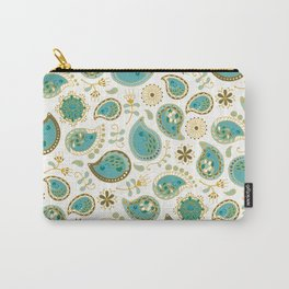Hedgehog Paisley_Teal BgWhite Carry-All Pouch