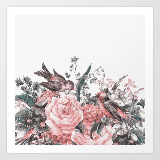 birds and flowers 2 Art Print