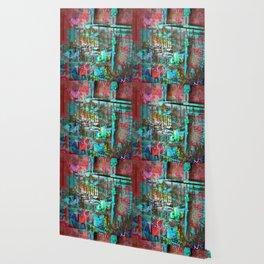 New York Men On Unfinished Skyscraper Red Wallpaper