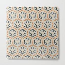 Blue Orange Abstract Pattern Metal Print