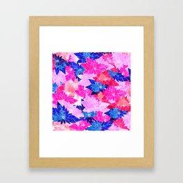 Modern navy blue pink purple watercolor floral Framed Art Print