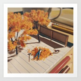 Relaxing in fall Art Print