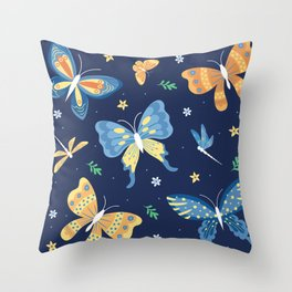 Colorful retro butterflies and dragon flies patten Throw Pillow