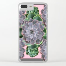 ORNATE JADE & GREEN SUCCULENT PINK   GARDEN Clear iPhone Case
