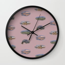 Highland Landmarks in pink Wall Clock
