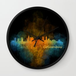 Columbus Ohio, City Skyline, watercolor  Cityscape Hq v4 Wall Clock