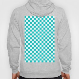 White and Cyan Checkerboard Hoody