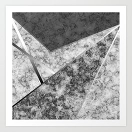 Combined abstract pattern in black and white . Art Print