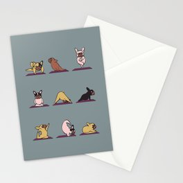 Frenchie Yoga Stationery Cards