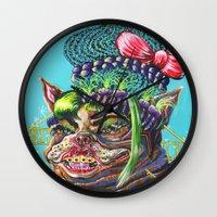 bitch Wall Clocks featuring Bitch. by Eliza Brown Art