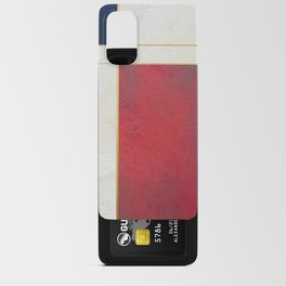 Blue, Red And White With Golden Lines Abstract Painting Android Card Case