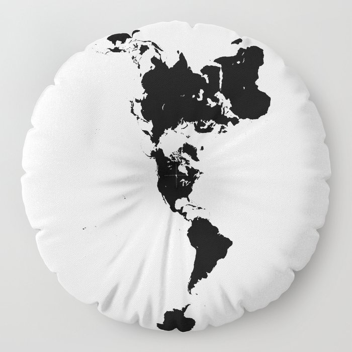 Dymaxion World Map (Fuller Projection Map) - Minimalist Black on White Floor Pillow