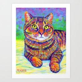 Colorful Brown Tabby Cat Art Print