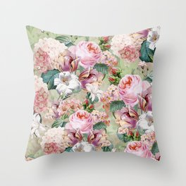 Vintage & Shabby Chic -Blush Pink Botanical Spring Roses Garden  Throw Pillow