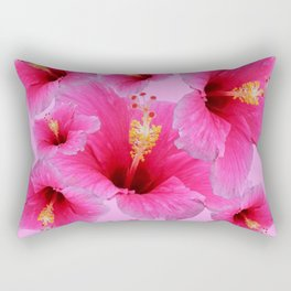 GIRLY TROPICAL PINK HIBISCUS ART Rectangular Pillow