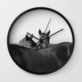 Wild Horses in Black and White Wall Clock
