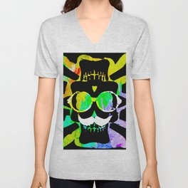 old vintage funny skull art portrait with painting abstract background in green yellow pink blue Unisex V-Neck