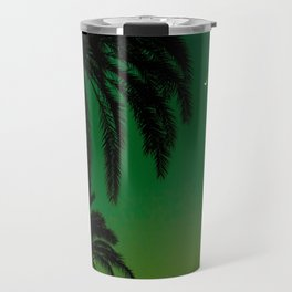 Tropical Palm Tree Silhouette Green Ombre Sunset Crescent Moon At Night Travel Mug