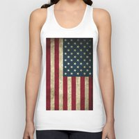american flag Tank Tops featuring American Flag by Abbie :)