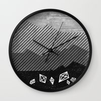 mineral Wall Clocks featuring Mineral by Jenny Tiffany