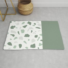 abstract terrazzo stone memphis pattern with colourblocking sage Rug