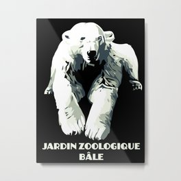 Vintage vector Zoo ad Basel polar bear Metal Print