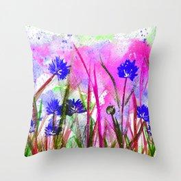 Corn Flower Blossom Throw Pillow