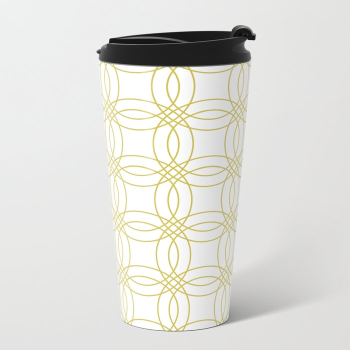 Simply Vintage Link Mod Yellow on White Metal Travel Mug