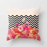collage Throw Pillows featuring Chevron Flora II by Bianca Green