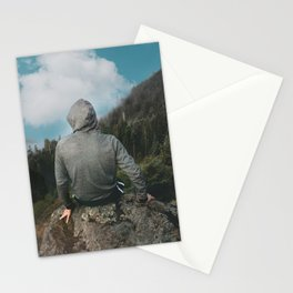 Man and the mountain Stationery Cards