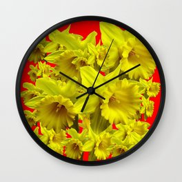 YELLOW SPRING DAFFODILS ON CHINESE RED ART Wall Clock
