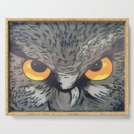 Eagle owl art owl bird drawing Serving Tray