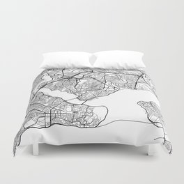Istanbul Map, Turkey - Black and White Duvet Cover