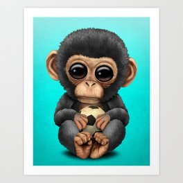 Cute Baby Chimp With Football Soccer Ball Art Print