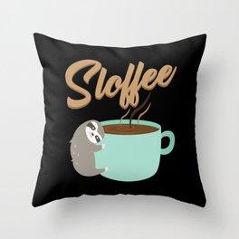 Sloffee   Coffee Sloth Throw Pillow