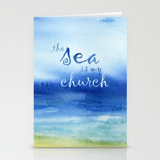 The Sea Is My Church (text) Stationery Cards