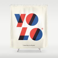yolo Shower Curtains featuring Yolo by Wharton