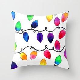 Colorful Christmas Holiday Light Bulbs Throw Pillow