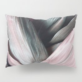 Pink Plant Leaves Pillow Sham