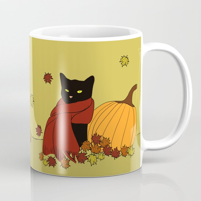 Cascade The Black Cat In Red Scarf With Pumpkin - Fall Coffee Mug