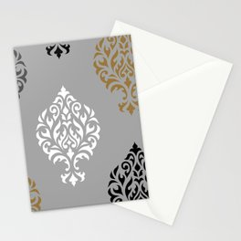 Orna Damask Art I BW Grays Gold Stationery Cards