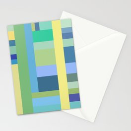 Abstract Blue Mint Green Geometry Stationery Cards